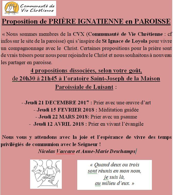 priere ignatienne - Prière Ignatienne en Paroisse - jeudi 15 février 2018 de 20h30 à 21h45