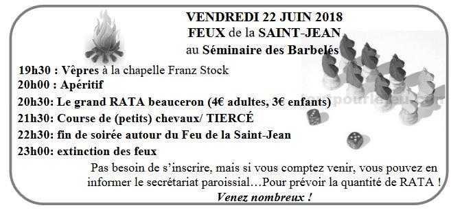 saint jean2018 - Feux de la Saint-Jean </br> Vendredi 22 juin 2018 au séminaire des Barbelés