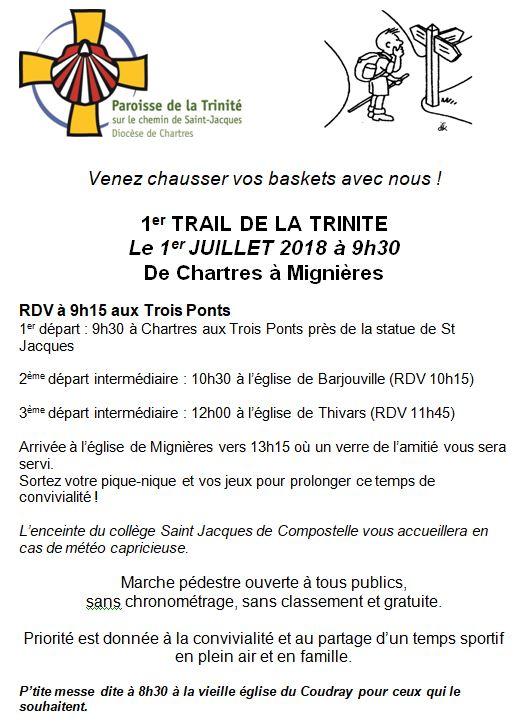 trail trinite - 1er trail de la Trinité</br>Dimanche 1er juillet 2018 de Chartres à Mignières
