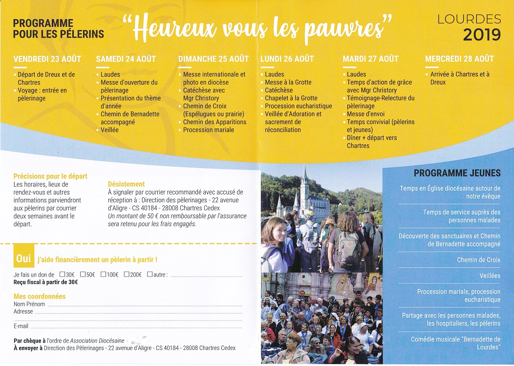 programme lourdes 0001 - Pèlerinage diocésain accompagné par Mgr Philippe Christory (Renseignements)