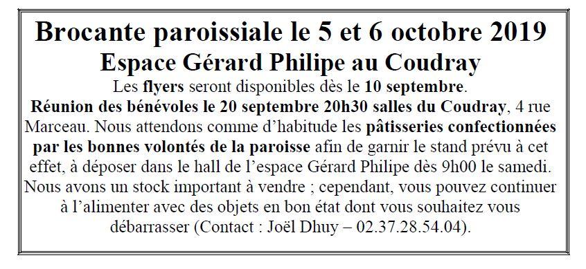 PREParation brocante - Réunion des bénévoles le 20 Septembre à 20h30 au Coudray