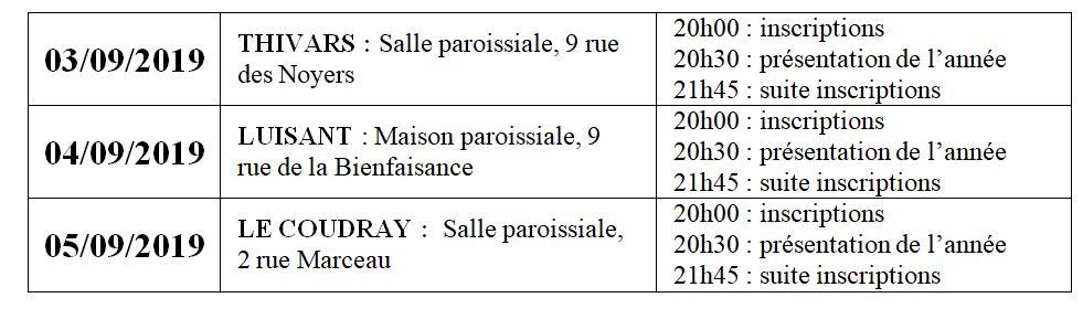 inscription caté 2019 - Dates et lieux d'inscriptions au catéchisme