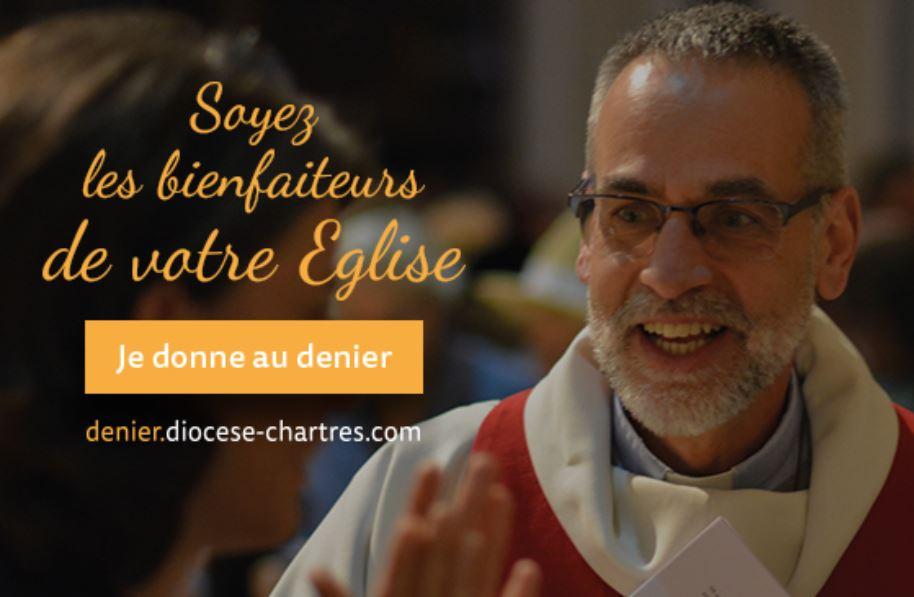 denier2 - Si l'Église peut tant vous donner, C'est aussi grâce au denier.  Je donne à l'Église catholique en Eure & Loir